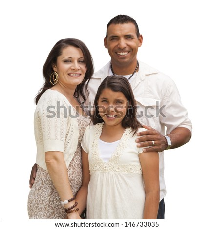 Hispanic Mother, Father and Daughter Isolated on a White Background. - stock photo