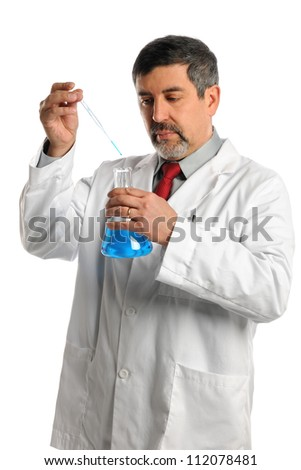 Hispanic scientist mixing chemicals isolated over white background - stock photo