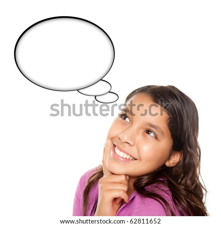 Hispanic Teen Aged Girl with Blank Thought Bubble Isolated on a White Background - Contains Clipping Paths. - stock photo