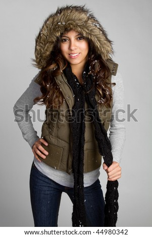 Hispanic Winter Girl - stock photo