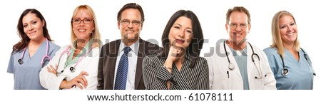 Hispanic Woman and Man with Doctors or Nurses Behind Isolated on a White Background.