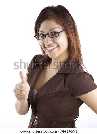 Hispanic Woman Giving Thumbs Up - stock photo