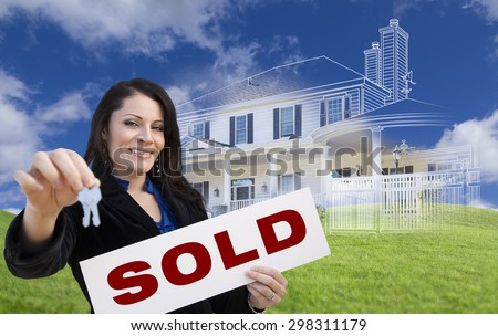 Hispanic Woman Holding Keys and Sold Sign with Ghosted House Drawing, Partial Photo and Rolling Green Hills Behind. - stock photo