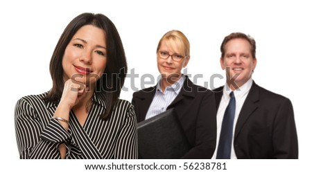 Hispanic Woman In Front of Businesspeople Isolated on a White Background.