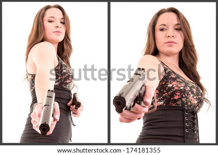 hispanic Woman with a gun, white background set - stock photo