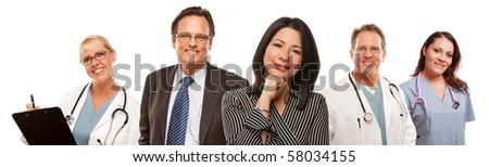 Hispanic Woman with Businessman and Male Doctors or Nurses Isolated on a White Background. - stock photo
