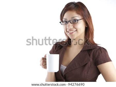Hispanic Woman with Coffee Cup - stock photo