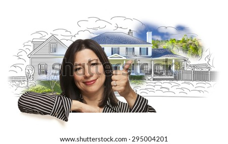 Hispanic Woman with Thumbs Up Over House Drawing and Photo Combination on White.
