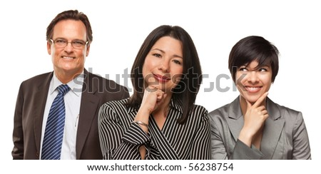 Hispanic Women and Businessman Isolated on a White Background.