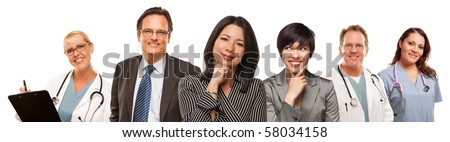 Hispanic Women with Husband and Male Doctors or Nurses Isolated on a White Background. - stock photo