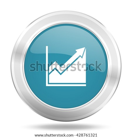 histogram icon, blue round metallic glossy button, web and mobile app design illustration - stock photo