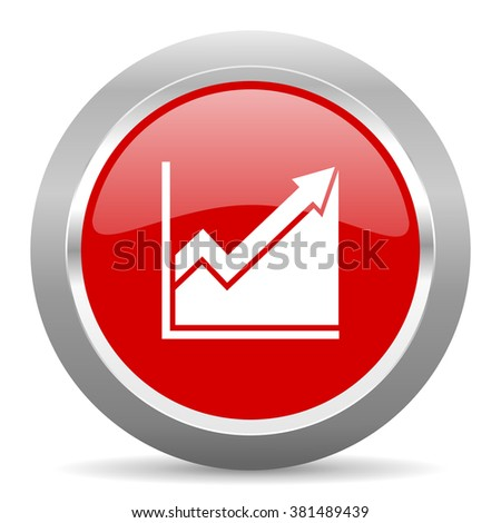 histogram red chrome web circle glossy icon - stock photo
