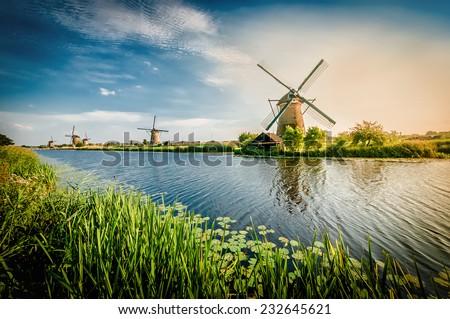 Historians Dutch windmills near Rotterdam. - stock photo