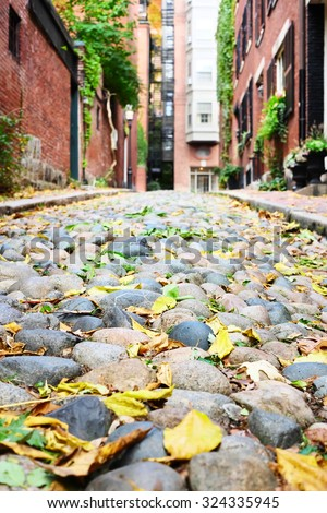Historic Acorn Street at  Beacon Hill neighborhood, Boston, USA. - stock photo