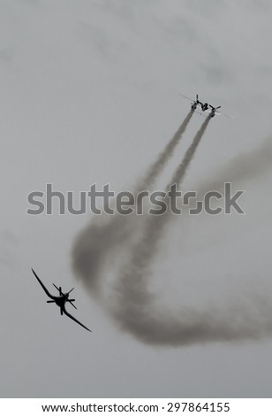 Historic Airplanes In Mid-Air - stock photo