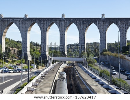 historic aqueduct in the city of Lisbon from18th century, Portugal  - stock photo