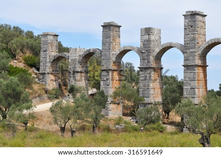 historic aqueduct near Moria on island Lesbos,Greece - stock photo