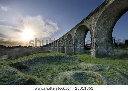 Historic arch bridge - Craigmore Viaduct. The highest railway bridge in Ireland. HDR Technique - stock photo