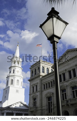 Historic Architecture in Downtown Charleston, South Carolina - stock photo