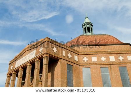 Historic art deco First Baptist Church in downtown Asheville, North Carolina - stock photo