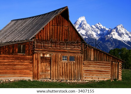 Historic barn located on Mormon Row, Grand Teton National Park, Wyoming - stock photo