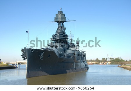 Historic Battleship Texas in Buffaloe Bayou, Houston, Texas - stock photo
