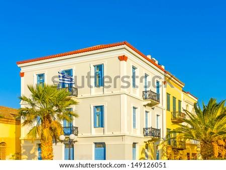 Historic beautiful building in Nafplio town in Greece - stock photo