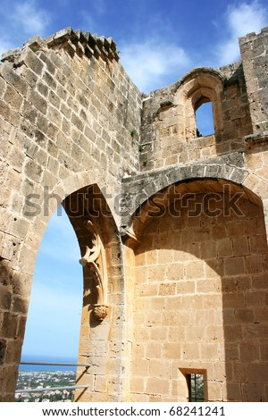 Historic Bellapais Abbey in Kyrenia, Northern Cyprus.Original construction was built between 1198-1205, it is the most beautiful Gothic building in the Near East. - stock photo