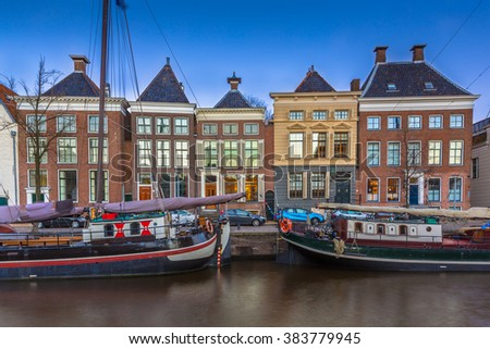 Historic boats and buildings at Hoge der Aa quay in Groningen city center, Netherlands