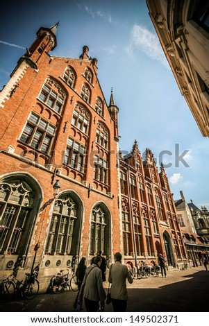 Historic building around Bruges, Belgium. Bruges is located in the old heart of Europe, between the triangle London�Paris�Amsterdam. - stock photo