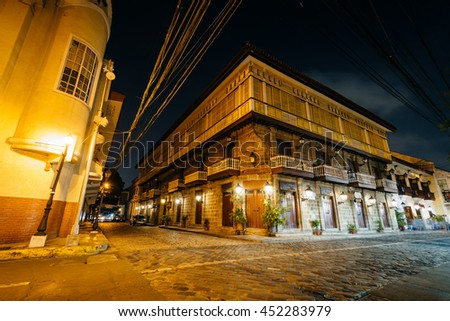 Historic building at night, in Intramuros, Manila, The Philippines.