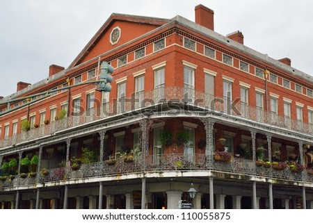 Historic building in the French Quarter of New Orleans - stock photo