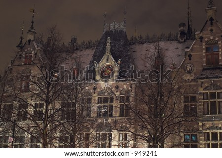 Historic building in the snow at night, the Hague