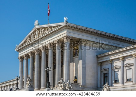 Historic building of the Austrian Parliament (architect Theophil Hansen, 1874 - 1883). Vienna, Austria. - stock photo
