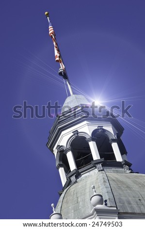 Historic Building with Sun Flare - stock photo
