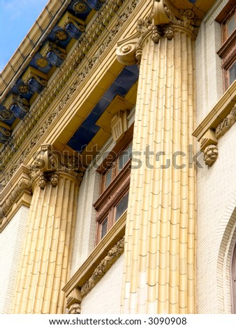 Historic Building with two Ornate fluted columns