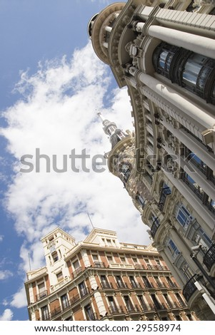 Historic buildings and sky in Madrid, Spain
