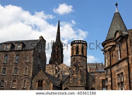 Historic buildings in Grassmarket area. Edinburgh. Scotland. UK. - stock photo