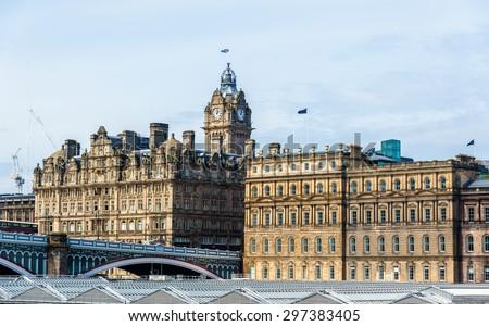 Historic buildings in the city centre of Edinburgh - Scotland - stock photo