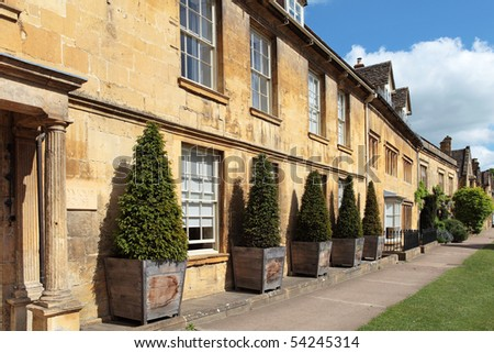 Historic buildings in the Cotswolds village of Chipping Campden - stock photo