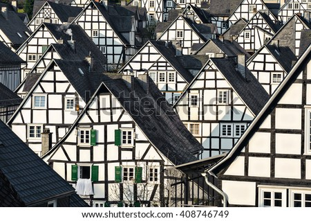 historic buildings of alter flecken in freudenberg germany - stock photo