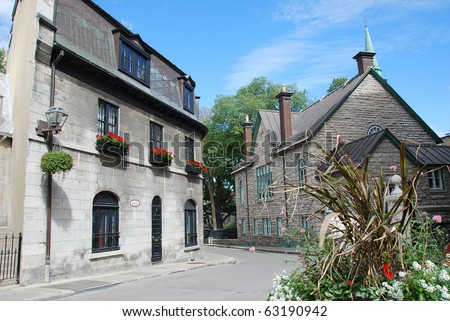 Historic buildings on Rue Donnacona in Quebec City - stock photo