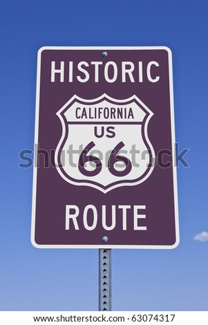 Historic California US Route 66 road sign.