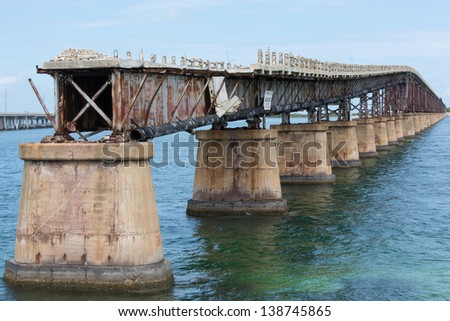Historic Camelback Bridge in the Florida Keys. Also known as the Bahia Honda Rail Bridge. - stock photo