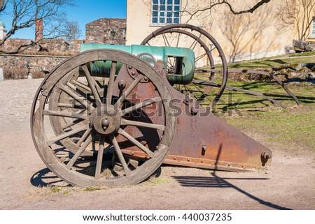 Historic cannon at Suomenlinna maritime fortress. Helsinki, Finland - stock photo