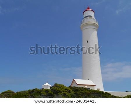 Historic cape Nelson lighthouse near Portland in Victoria in Australia  - stock photo