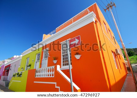 Historic Cape Town suburb in Bo-Kaap Malay Quarter - stock photo