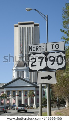 Historic Capitol and modern Capitol buildings Tallahassee Florida USA - stock photo