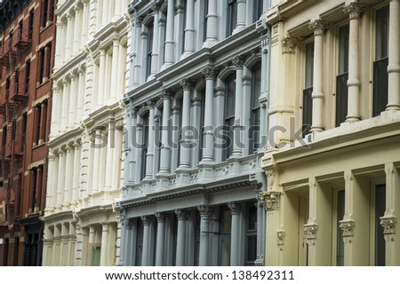 Historic cast iron buildings in New York City's Soho District - stock photo