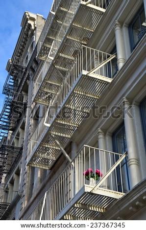 Historic cast iron buildings in New York City's Soho District, New York City, USA. - stock photo